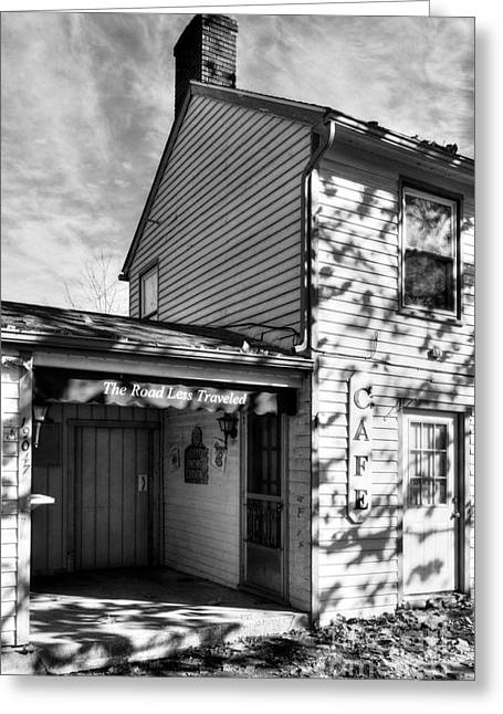 Autumn In Metamora 2 Bw Greeting Card by Mel Steinhauer