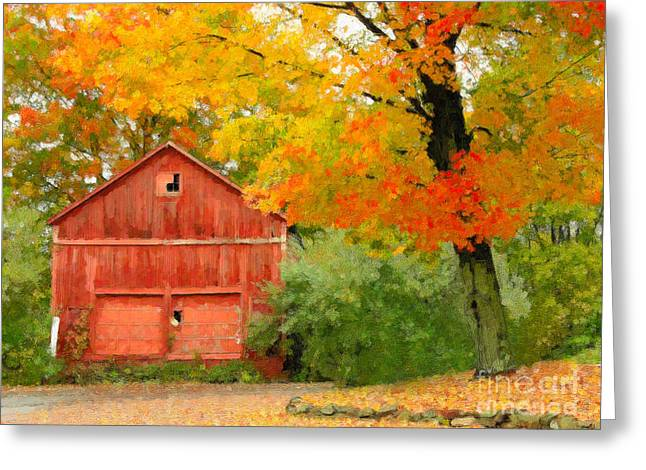 Autumn In New England Greeting Card by Michael Petrizzo