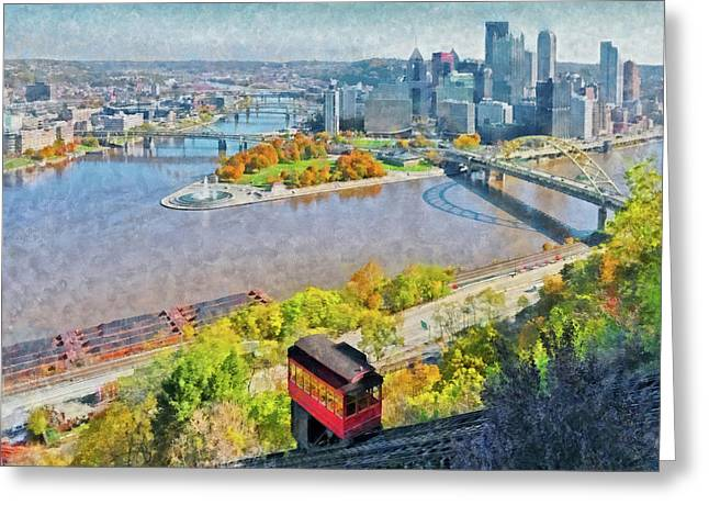 Greeting Card featuring the digital art Autumn In Pittsburgh by Digital Photographic Arts