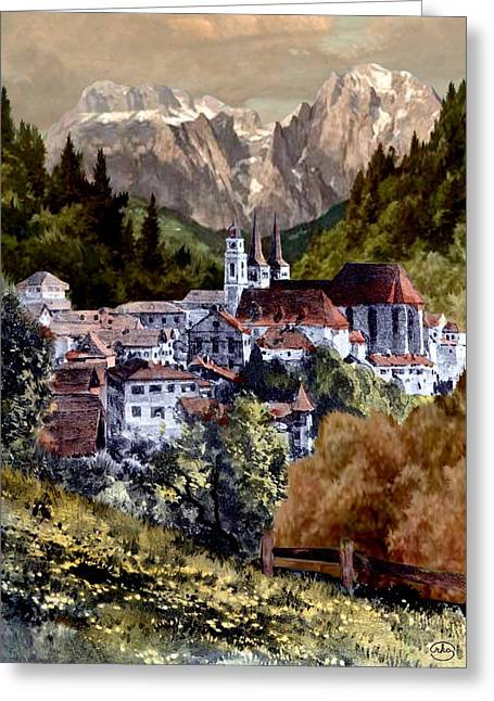 Autumn In The Alps Greeting Card by Ron Chambers