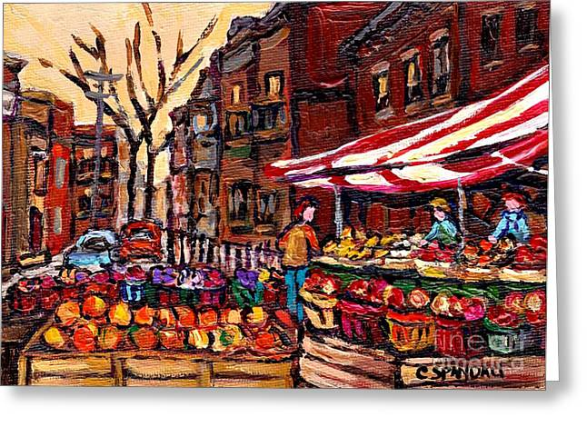 Autumn In The City Outdoor Market Small Format Paintings For Sale Best Montreal Art Carole Spandau Greeting Card by Carole Spandau