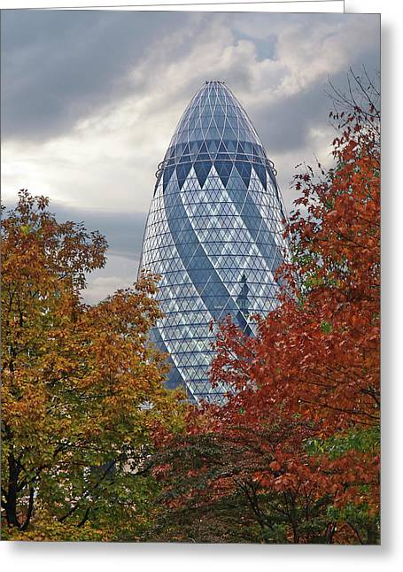 Autumn In The City - The Gherkin London Greeting Card