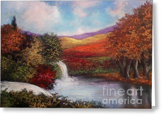 Greeting Card featuring the painting Autumn In The Garden Of Eden by Randol Burns