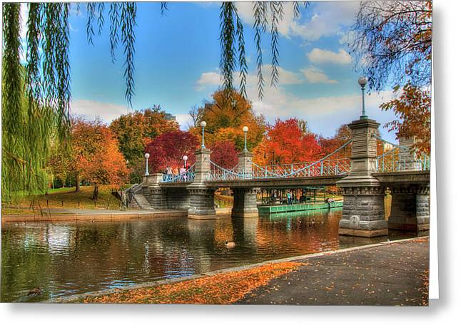 Autumn In The Public Garden - Boston Greeting Card by Joann Vitali