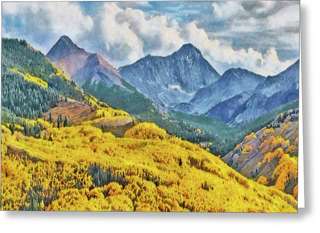 Greeting Card featuring the digital art Autumn In The Rockies by Digital Photographic Arts