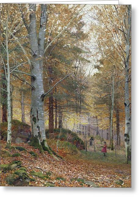 Autumn In The Woods Greeting Card by James Thomas Watts