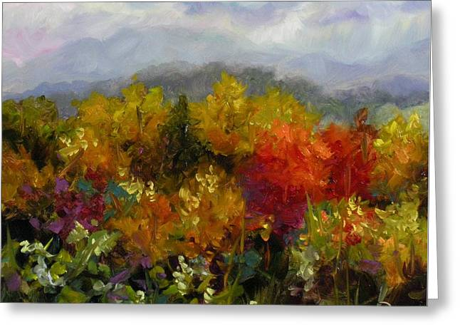 Greeting Card featuring the painting Autumn Jewels by Chris Brandley