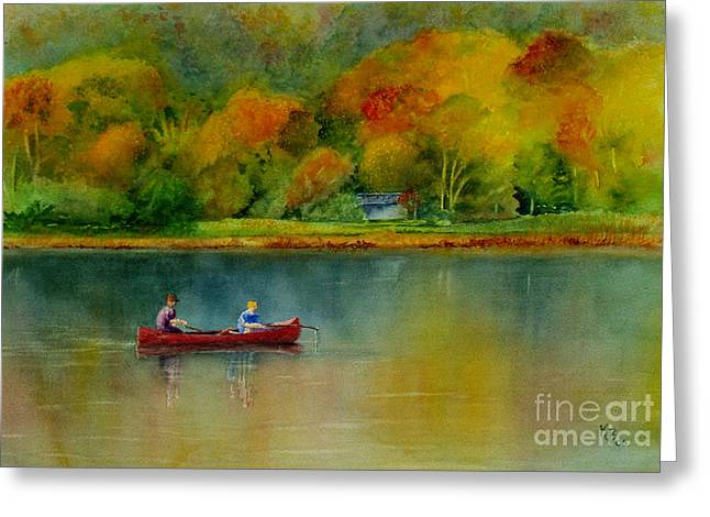 Father And Son Greeting Cards - Autumn Greeting Card by Karen Fleschler