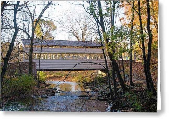 Autumn - Knox Covered Bridge - Valley Forge Greeting Card by Bill Cannon