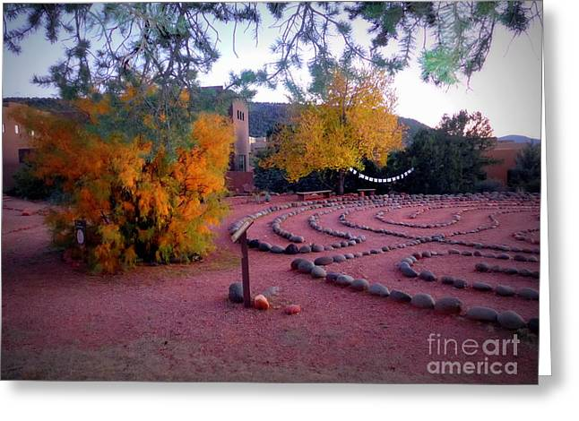 Autumn Labyrinth Greeting Card by Marlene Rose Besso