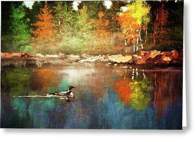 Autumn Lake Reflections Greeting Card