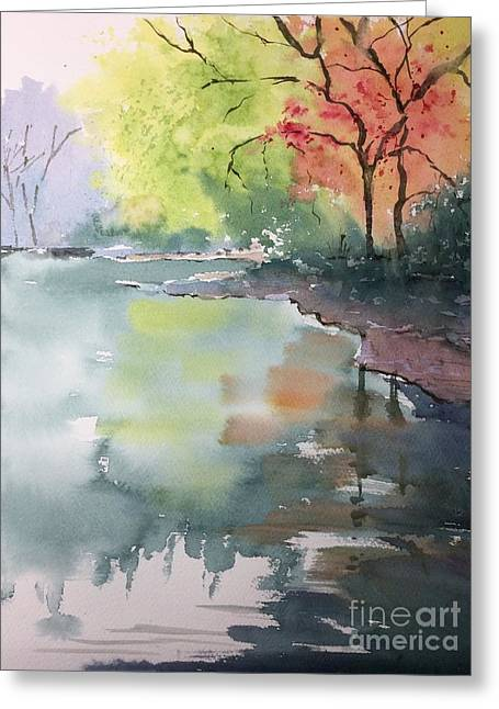 Autumn Lake Greeting Card by Yohana Knobloch