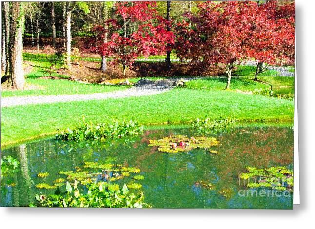 Autumn Landscape At Gibbs Gardens In Georgia Usa Greeting Card
