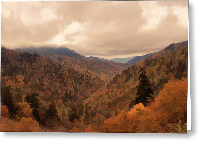 Autumn Landscape In The Smoky Mountains Greeting Card by Dan Sproul