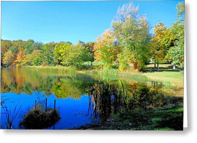 Autumn Landscape Of Lake 7 Greeting Card