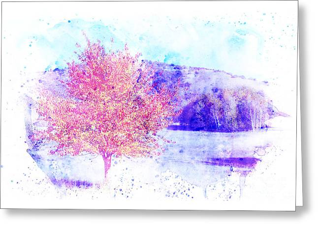 Autumn Landscape With A Background In Watercolor. Greeting Card by Stefano Gervasio