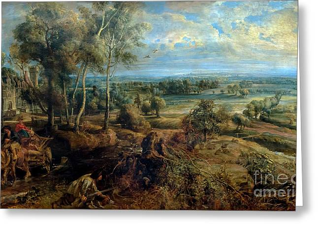 Autumn Landscape With A View Of Het Steen In The Early Morning,  Greeting Card