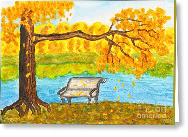 Autumn Landscape With Tree And Bench, Painting Greeting Card