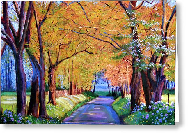 Most Paintings Greeting Cards - Autumn Lane Greeting Card by David Lloyd Glover
