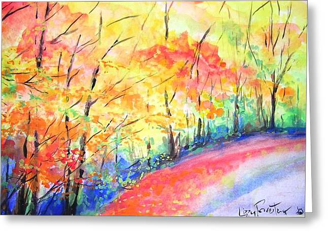 Autumn Lane Iv Greeting Card by Lizzy Forrester