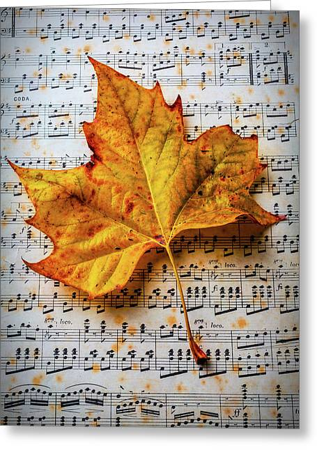 Autumn Leaf On Sheet Music Greeting Card