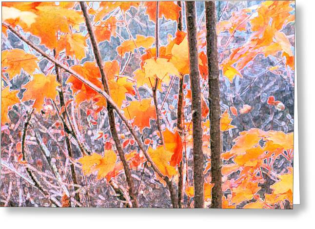 Greeting Card featuring the digital art Autumn Leaves 2 Pdae by Lyle Crump