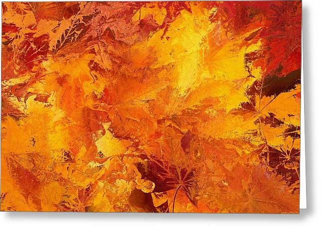 Autumn Leaves Abstract Greeting Card by Dan Sproul