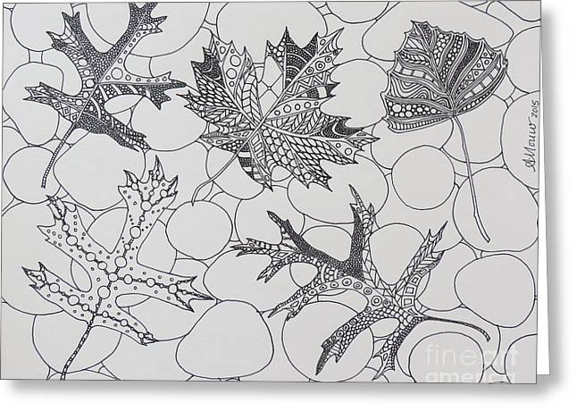 Autumn Leaves In Black And White Greeting Card by Aimee Mouw