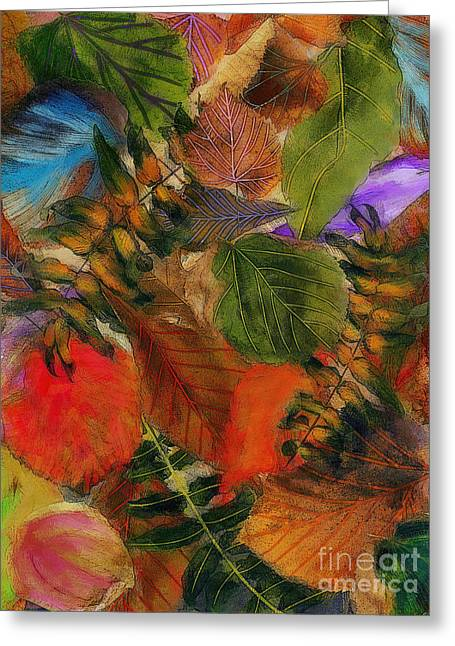 Greeting Card featuring the digital art Autumn Leaves by Klara Acel