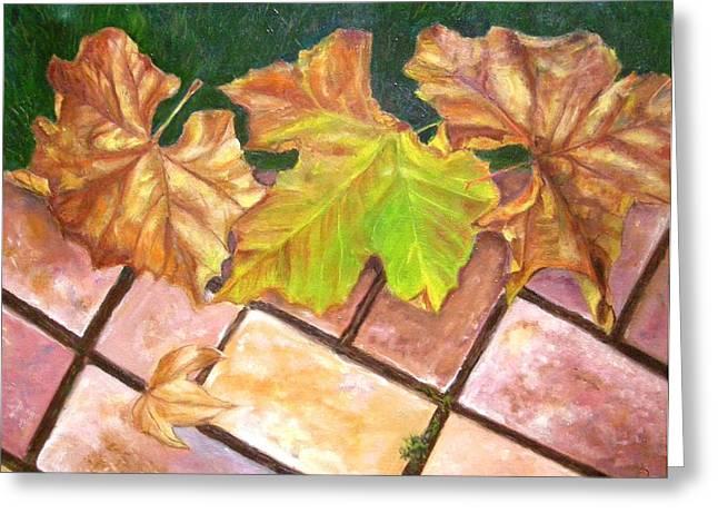 Autumn Leaves Greeting Card by Olga Kaczmar