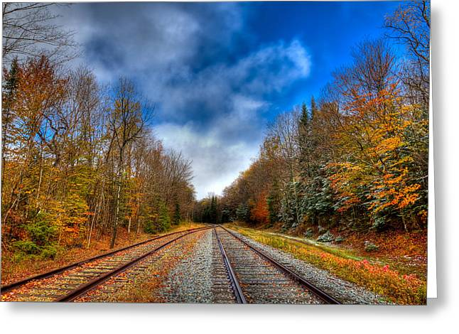 Autumn Leaves On The Tracks Greeting Card