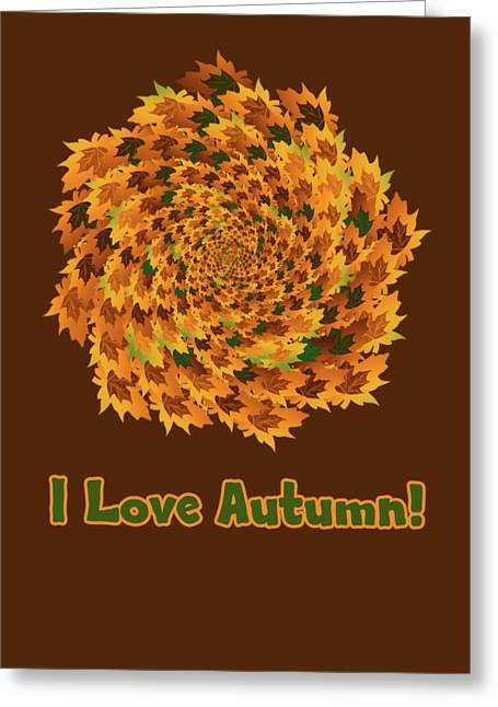 Greeting Card featuring the digital art Autumn Leaves Pattern by Methune Hively
