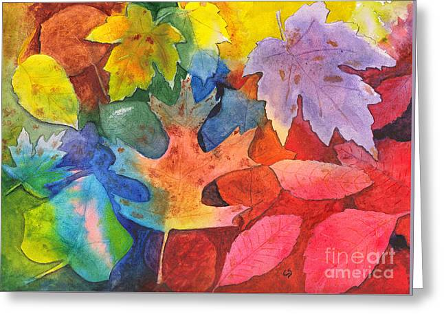 Autumn Leaves Recycled Greeting Card