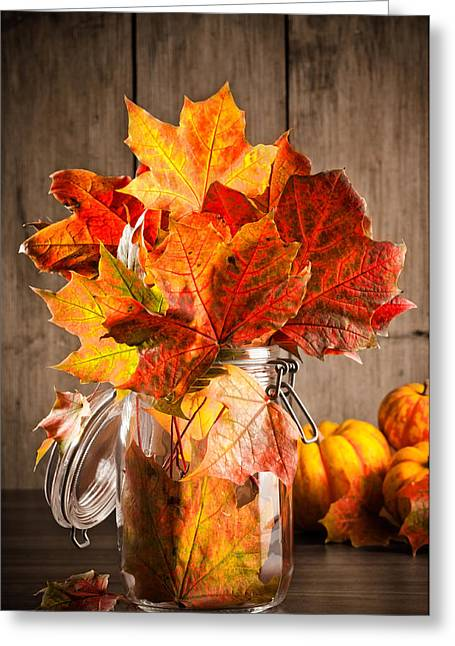 Autumn Leaves Still Life Greeting Card by Amanda Elwell