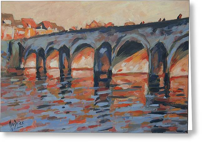 Autumn Light Through The Saint Servaas Bridge Maastricht Greeting Card