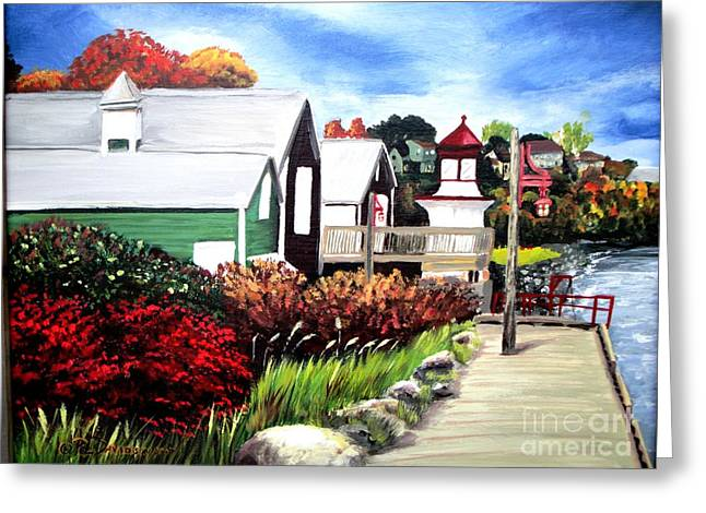 Greeting Card featuring the painting Autumn Lighthouse Miramichi New Brunswick Canada by Patricia L Davidson