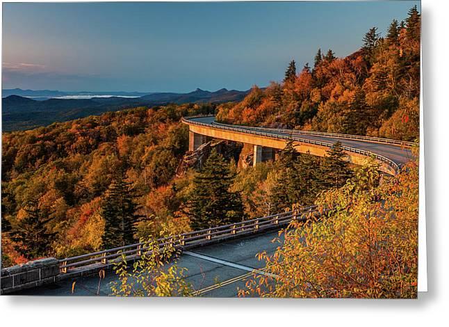 Morning Sun Light - Autumn Linn Cove Viaduct Fall Foliage Greeting Card