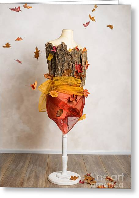 Autumn Mannequin With Falling Leaves Greeting Card by Amanda Elwell