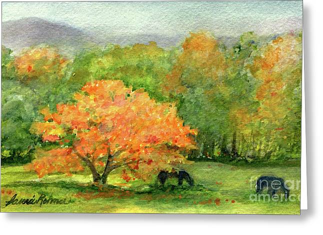Autumn Maple With Horses Grazing Greeting Card