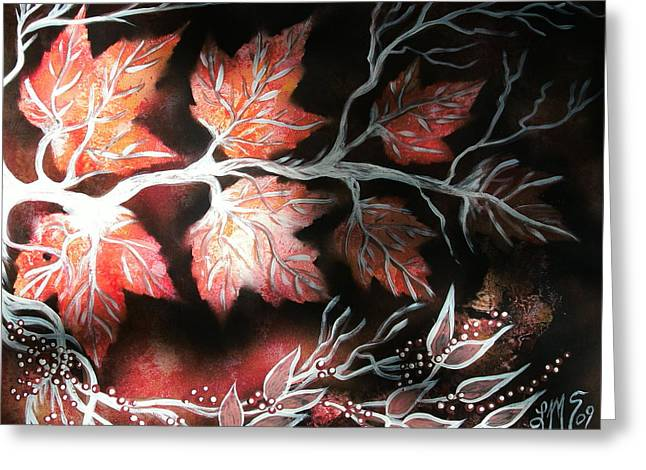 Mix Medium Paintings Greeting Cards - Autumn Maples and Winterberries Greeting Card by LinMarie Surface