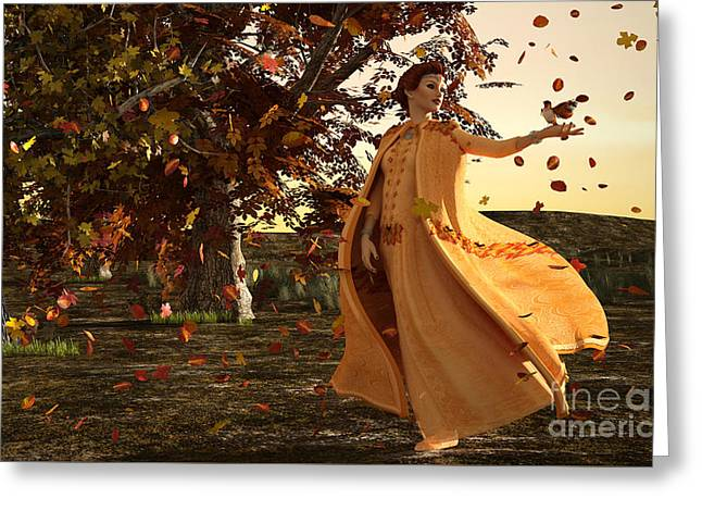Greeting Card featuring the digital art Autumn by Methune Hively