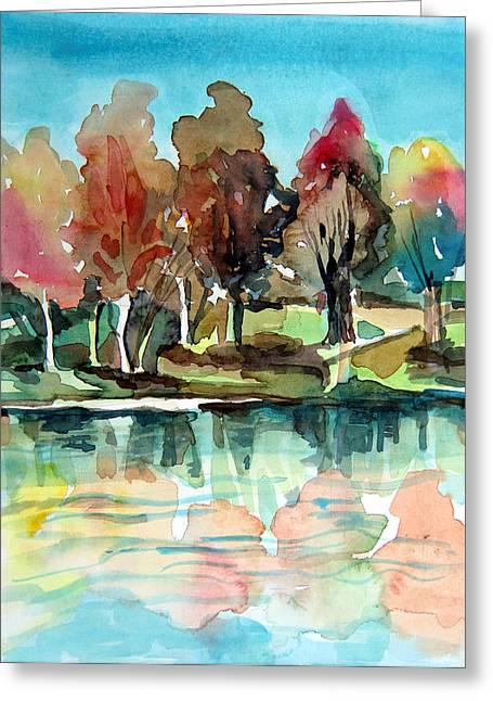 Autumn Mirror Greeting Card by Mindy Newman