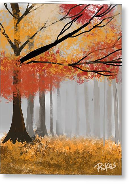 Autumn Mist Greeting Card by Diana Riukas
