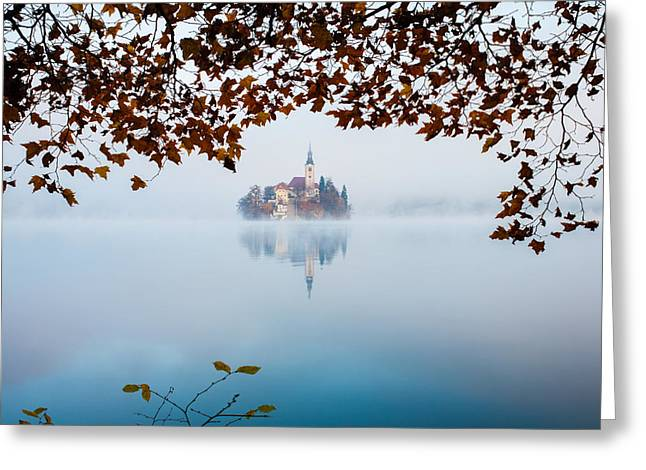 Autumn Mist Over Lake Bled Greeting Card