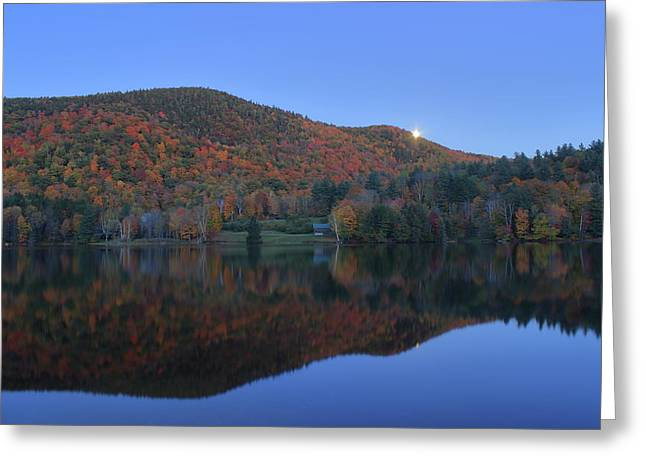 Autumn Moonrise In The Green Mountains Greeting Card by John Burk