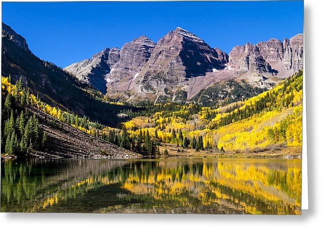 Autumn Morning At The Maroon Bells Greeting Card by Teri Virbickis