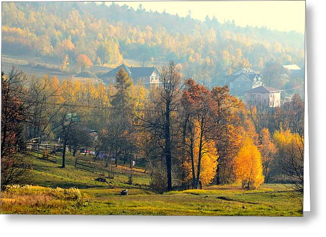Autumn Morning Greeting Card by Henryk Gorecki