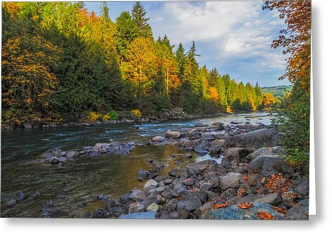 Autumn Morning Light On The Snoqualmie Greeting Card by Ken Stanback