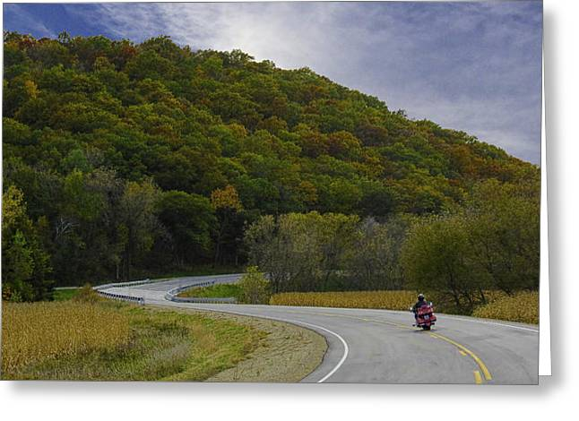 Autumn Motorcycle Rider / Red Greeting Card