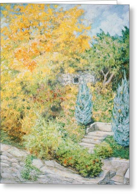 Stone House Pastels Greeting Cards - Autumn Mount Vernon Greeting Card by Rose Wark